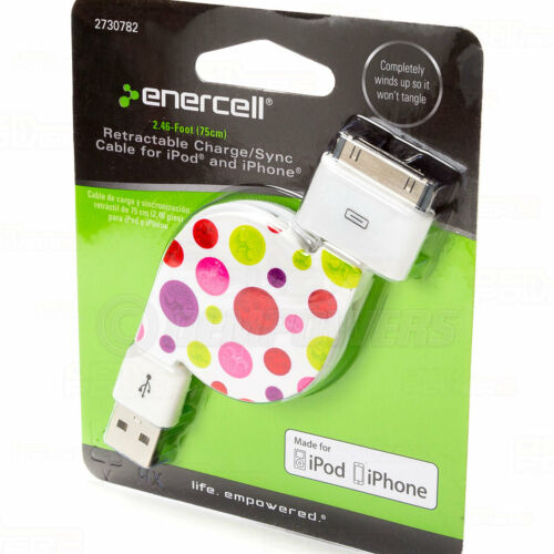 Enercell 30-Pin to USB Retractable Sync Cable Apple iPad 2 3 Iphone 3G 3GS 4 4S
