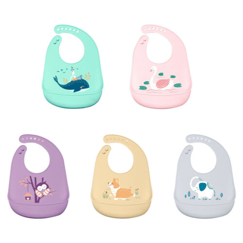Toddler Baby Soft Silicone Bibs Feeding Bib Food Catcher Pocket Easy Cleaning