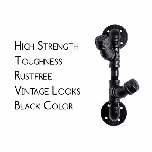 Black Electroplated Industrial Pipe Coat and Hat Hook Rustic Iron Pipe Decor