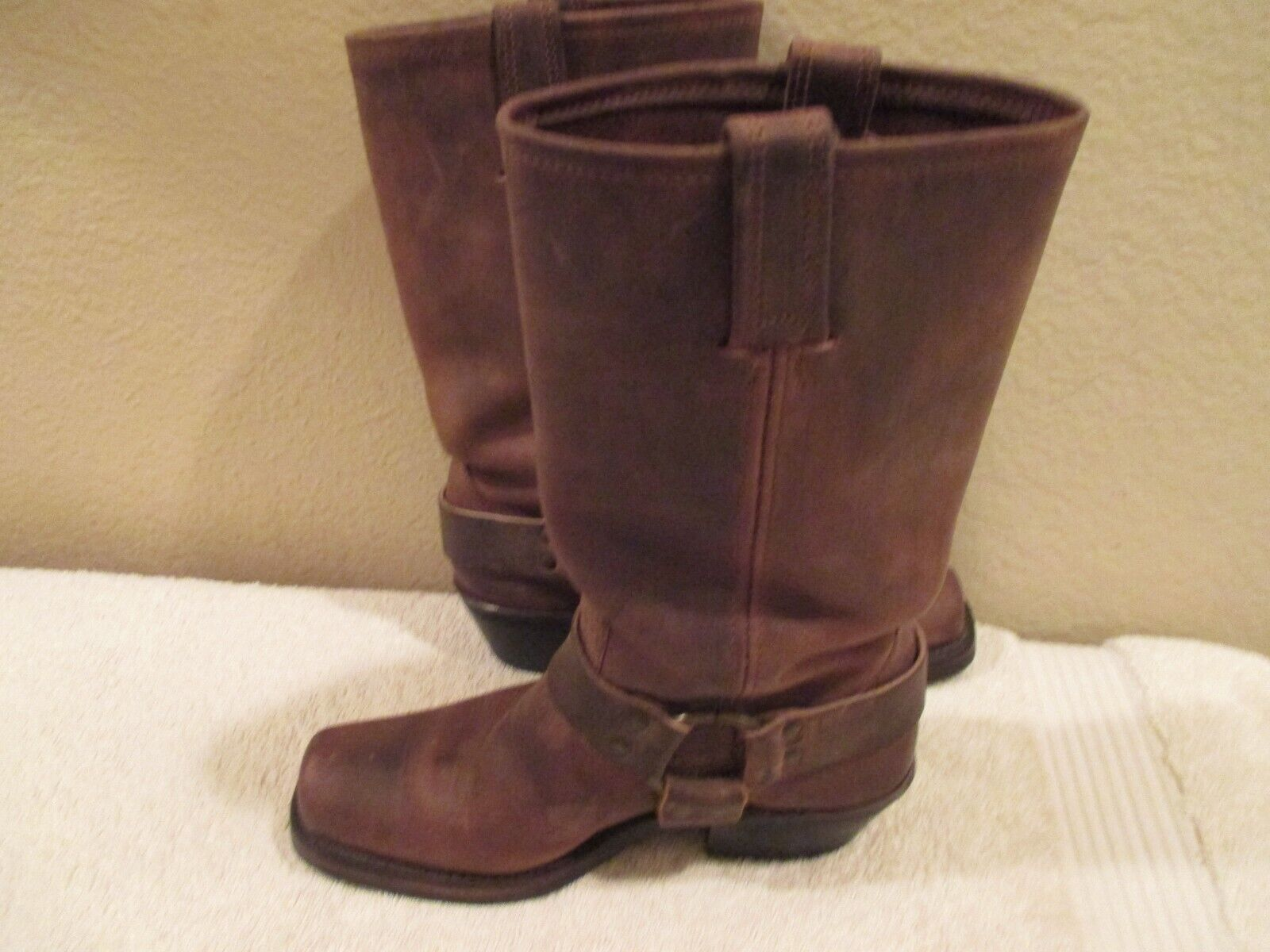 Frye 77300 Motorcycle Brown Harness Boots  made in USA SIZE 6.5 M