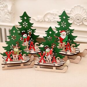 Wood-EIK-Sled-Snowman-Ornaments-Merry-Christmas-Home-Decor-Xams-Tree-Supplies