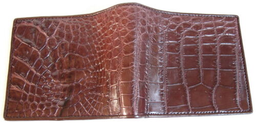 Genuine Real Belly Crocodile Alligator Skin Leather Man Bifold Dark Brown Wallet