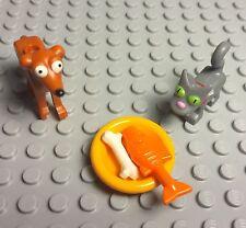 Lego The Simpsons Greyhound Dog,snowball Eyes Cat W/ Orange Fish,bone,food Dish