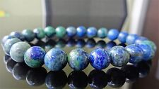 "Genuine LAPIS & MALACHITE bead bracelet for MEN On Stretch AAA 8mm - 8"" inch"