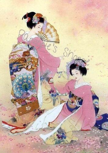 Fabric Block 2 Japanese Women Kimono Floral Royalty Fans Pink Asian