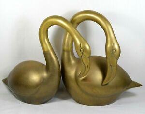 Set-of-2-Vtg-Brass-Exotic-Love-Birds-Flamingo-Bookends-Sculpture-Statues-RARE
