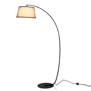 Arc Floor Lamp with Hanging Fabric Lampshade & Sturdy Base Modern Office Black