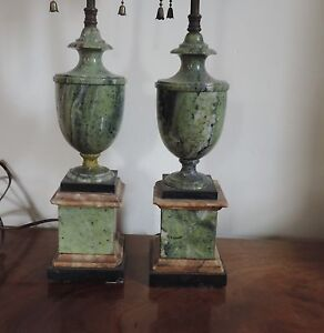 Image Is Loading Pair 19th Century Antique Marble Urn Lamps Grand