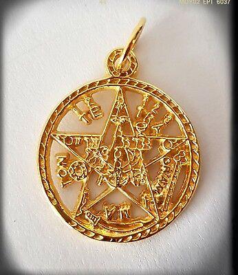 TETRAGRAMMATON,TALISMAN PLATA,CHAPADO ORO,PENTAGRAMA PLATED IN GOLD ESOTERICO,