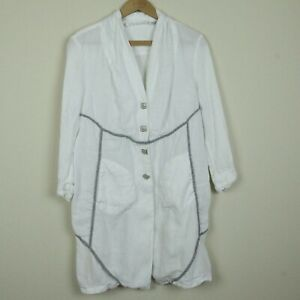 FLAW-Elisa-Cavaletti-White-Linen-Jacket-Topper-Tunic-Lagenlook-L-Large-Italy