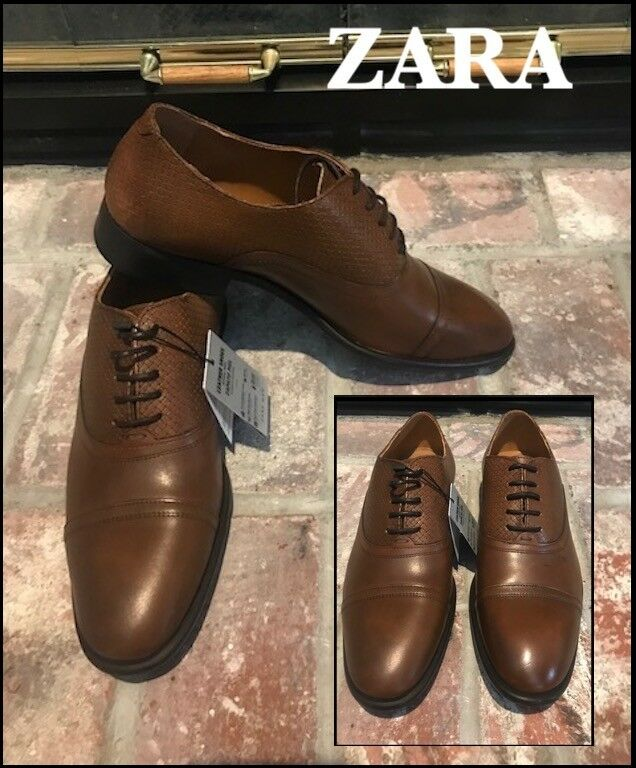 ZARA MAN (9/42) SMART BROWN LEATHER OXFORD LACE-UP SHOES SIZE 9US 42 EUR BNWTS