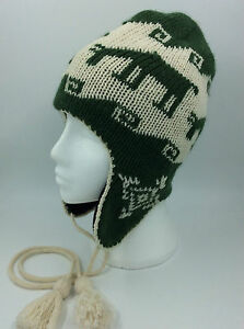 f507da16f57 Image is loading LADIES-GREEN-CREAM-REINDEER-FLYING-HAT-TASSLE-ONE-