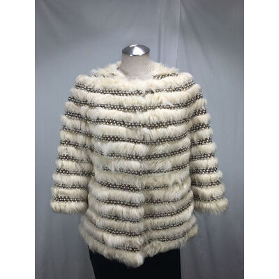 DELICATE PALE ROSE LAMB FUR LADY JACKET ENHANCED W/ PEARL& BEANS  FREE SHIPPING
