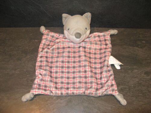 doudou loup renard gris blanc carreau rouge obaibi état neuf