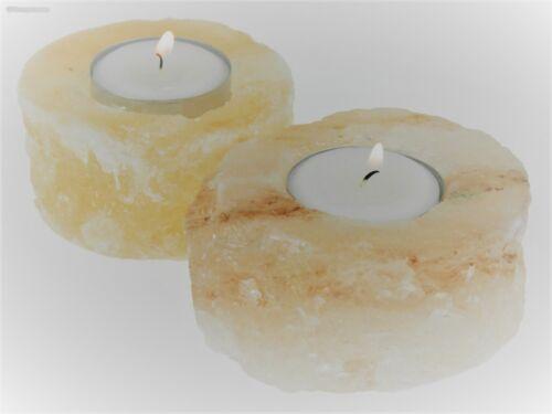 2 x SALZKRISTALL Teelichthalter UNIKAT Teelicht Kerzenhalter Kerzenständer NEU