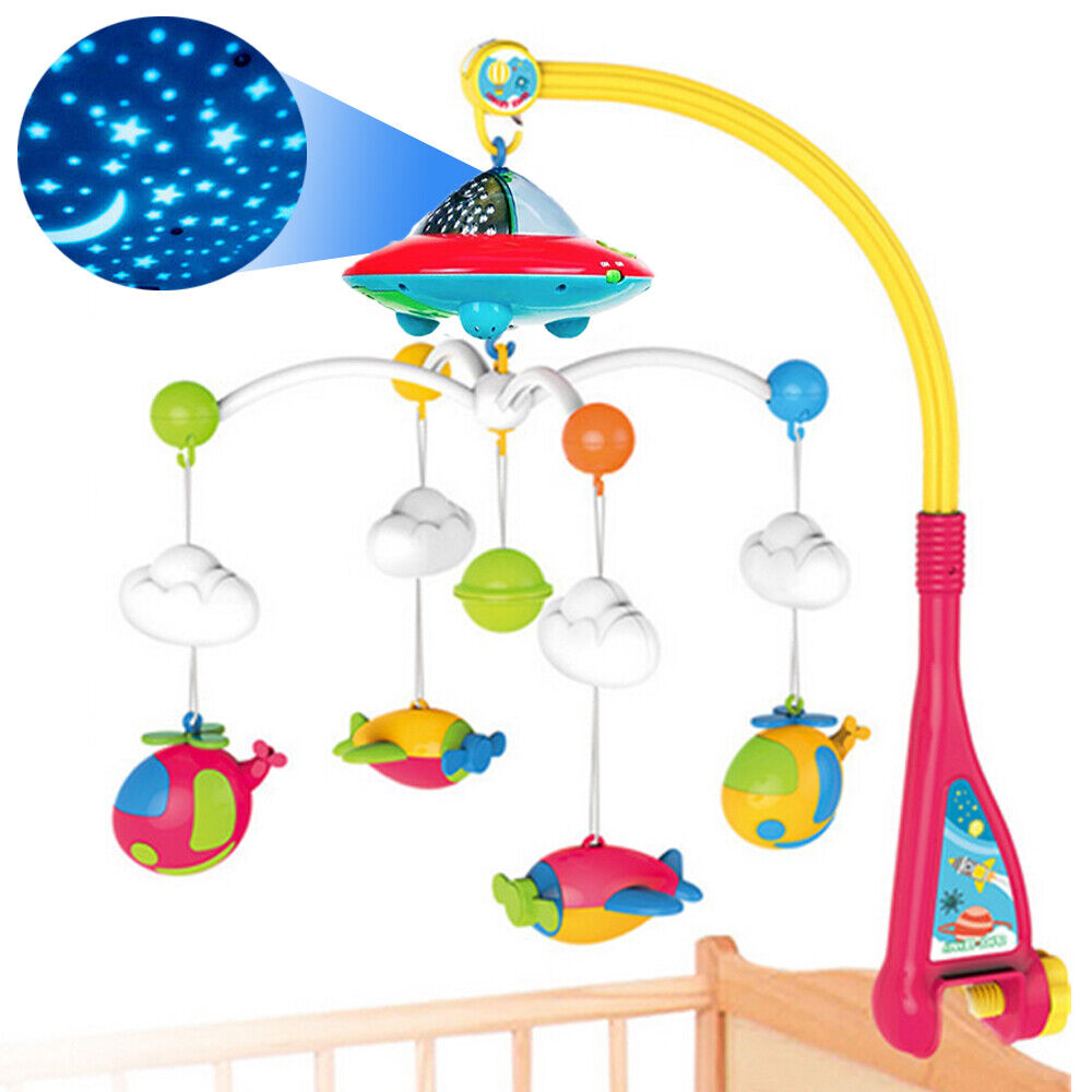 Auto Baby Crib Mobile USB Music Box Kids Bed Bell Toy Gift Play 12 Songs New