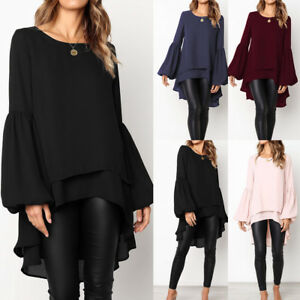 Women's Clothing Fashion Womens Baggy Asymmetric Long Tops Blouse Ladies Puff Sleeve Solid Color Chiffon Shirts 2019 Fall Spring Plus Size Shirt