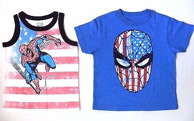 Spider-Man Toddler Boys Blue Tank Top Two-Piece Short Set Size 2T 3T 4T