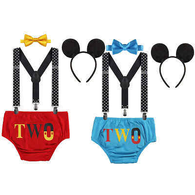 2nd Birthday Cake Smash Suspenders Pants Bowtie Outfits Boy Mickey Mouse Costume
