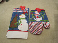 Snowman Kitchen Towel And Oven Mitt With Tags You Get Both