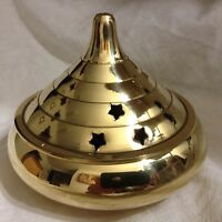 Large 4 Temple Brass Incense Burner Wiccan Pagan Metaphysical