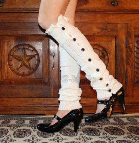 New Womens Crochet Knit W// Button Leg Warmers Lace Trim Toppers Boot Socks Cuffs