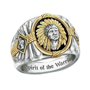 Hip-hop-style-Viking-warrior-two-color-ring-Indian-spiritual-totem-drip-ring