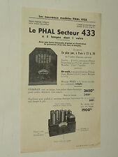 Prospectus TSF RADIO Poste PHAL 433  An 1933  brochure  prospekt old paper