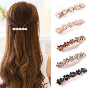 Hair-Barrette-Clip-French-Clips-Barrettes-Slide-Women-Vintage-Diamante-Crystal