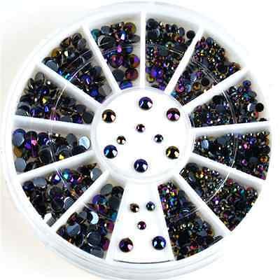 Wholesale 3D Acrylic Nail Art Tips DIY Decoration Glitter Rhinestones Wheel New