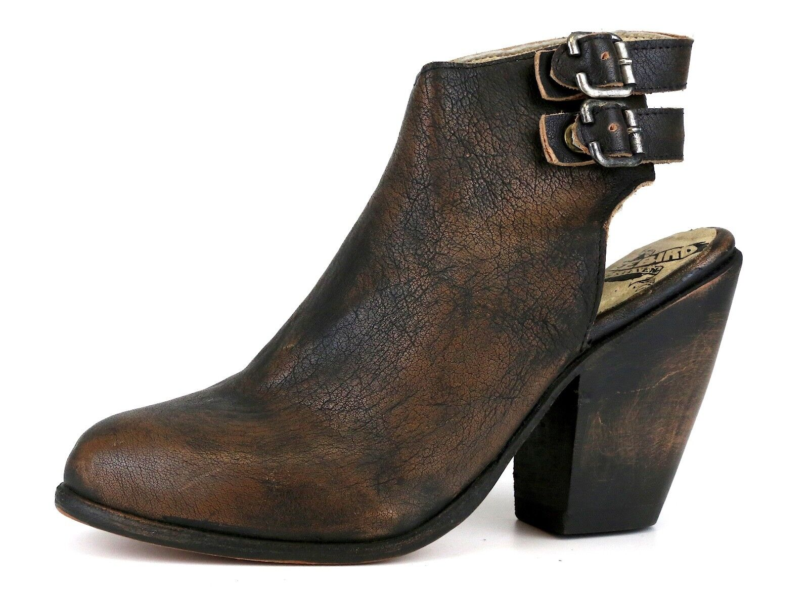 Freebird By Steven Smoke Leather démarrageie Dark marron femmes Sz 6 5453