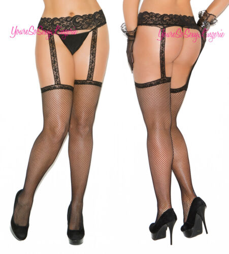Plus Size FISHNET STOCKINGS with LACE GARTER BELT Thigh Highs BLACK QUEEN