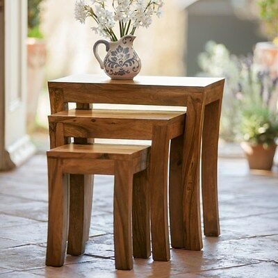 Western Style Wooden nesting table / stool ( nest of 3)