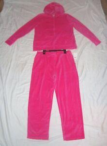 Nwt Womens Everlast Hot Pink Velour Hoodie Pants Sweatsuit Size Xl Ebay