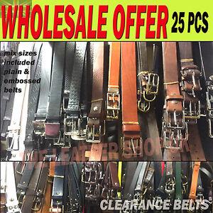 25 Pcs Wholesale Job Lot Leather Handmade Mix Colour Sizes Jean Belt UK Handmade