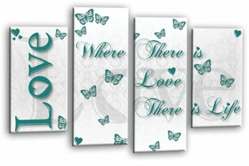 LOVE QUOTE WALL ART PICTURE TEAL GREY WHITE FAMILY CANVAS HOME SPLIT PANEL PRINT