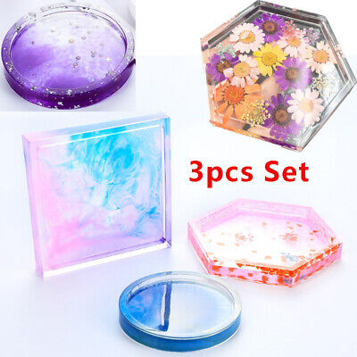 Resin Casting Mold Coaster Round Silicone Making Epoxy Mould 3X Craft DIY Tool