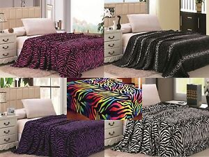 Animal-Print-Super-Soft-Luxurious-Fleece-Throw-Blanket-Bedding-Zebra-amp-Leopard