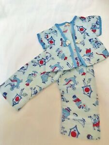 Vintage-1930-039-s-Early-RARE-Tagged-Vogue-Baby-Doll-14-034-15-034-2-pc-Blue-print-Pajamas