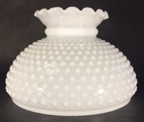 """10/"""" Fitter Opal Glass Student Kerosene Oil Hobnail White Crimped Top Lamp Shade"""