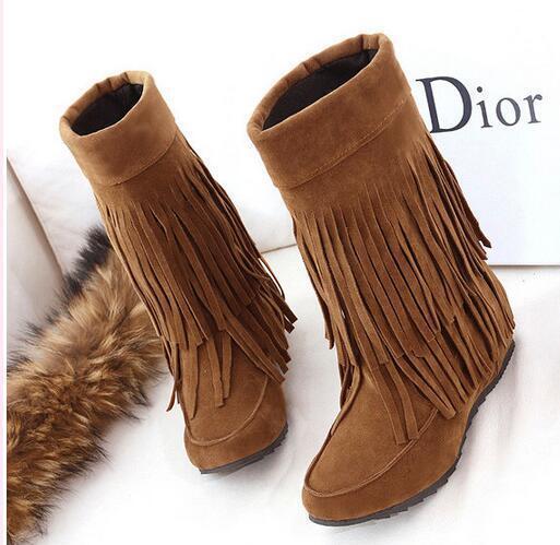 Bottes chaussures pour femmes talon 4 brun comme cuir franges beige 9380