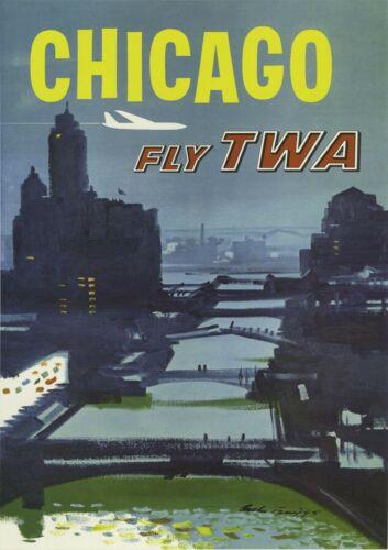 Chicago USA TWA Vintage Travel Poster Print Design Wall Retro Tourism Decor