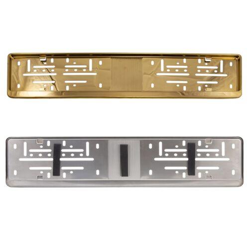 2x Auto Kennzeichenhalter EDELSTAHL GOLD V2A Nummernschildhalter D EU PKW KFZ