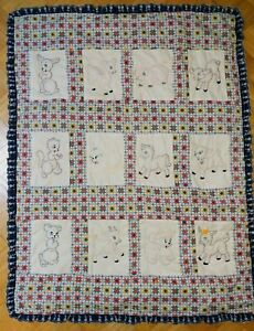 Baby Quilt Blocks.Details About Vintage Hand Embroidered Baby Quilt Blocks Pig Lamb Kitten Puppy Squirrel Cow