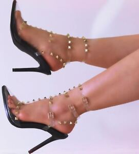eedd6ee3658a Liliana QUIZA-39 Black Clear Transparent T-Strap Pointy Toe Studs ...