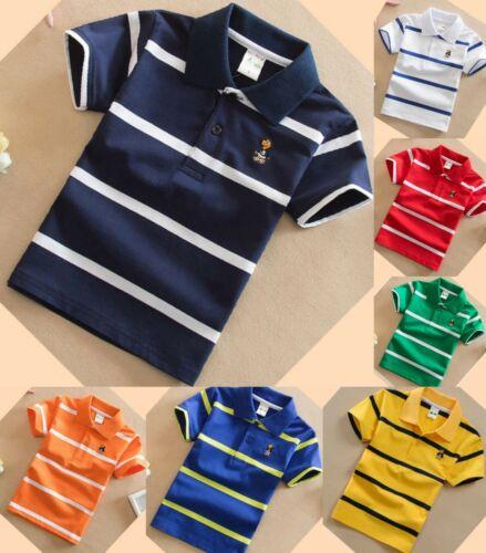 Garçons été top t shirt à manches courtes Casual Coton Sport Polo Âge 2-11 Ans