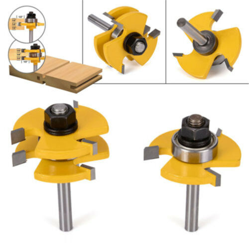 "2 Bit T-shape Tongue /& Groove Router Bit Set 3//4/"" Stock 1//4/"" Tige Bois Fraisage"