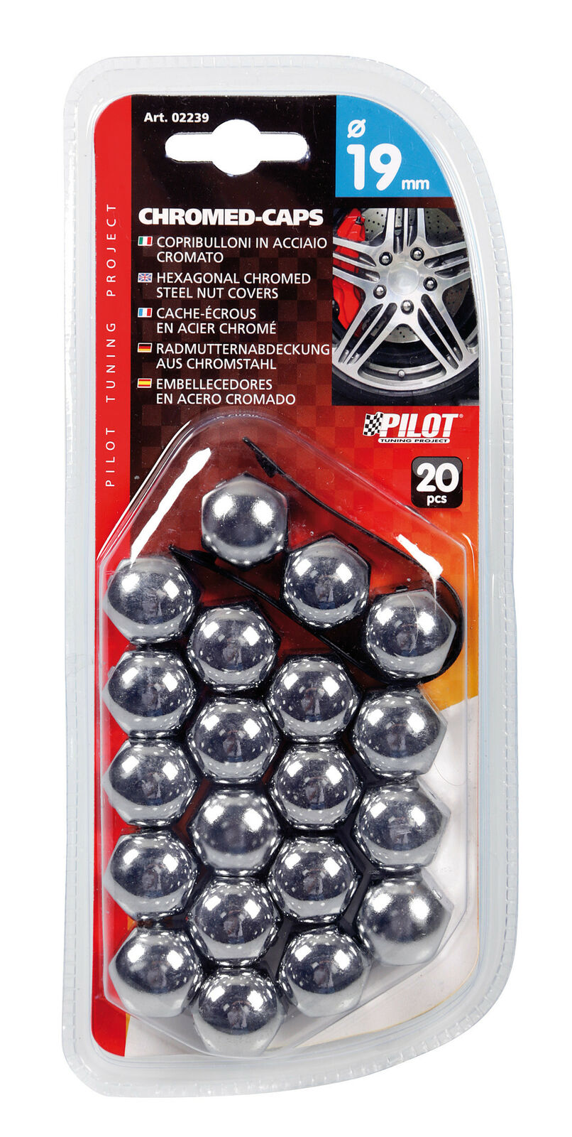 copribulloni in acciaio cromato Ø 19 mm Chromed Caps