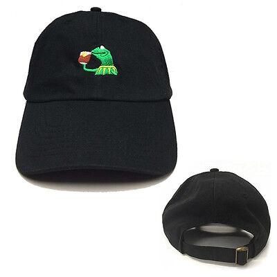 NS  Kermit Tea Hat The Frog Sipping Drinking Tea Baseball Dad Visor Cap Emoji
