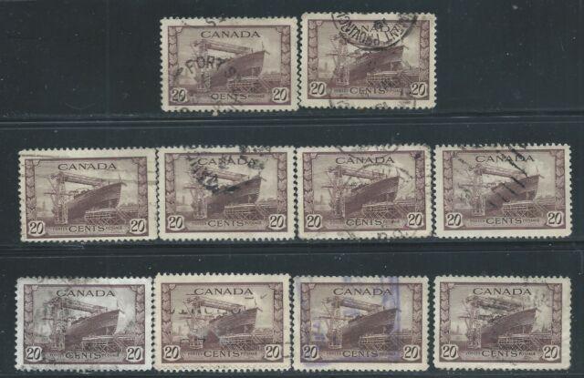 Canada #260(8) 1942 20 cent Canadian War Ships - CORVETTE 10 Used CV$3.00